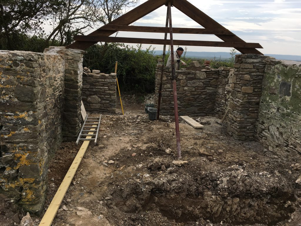 Part way through the restoration work of the barn