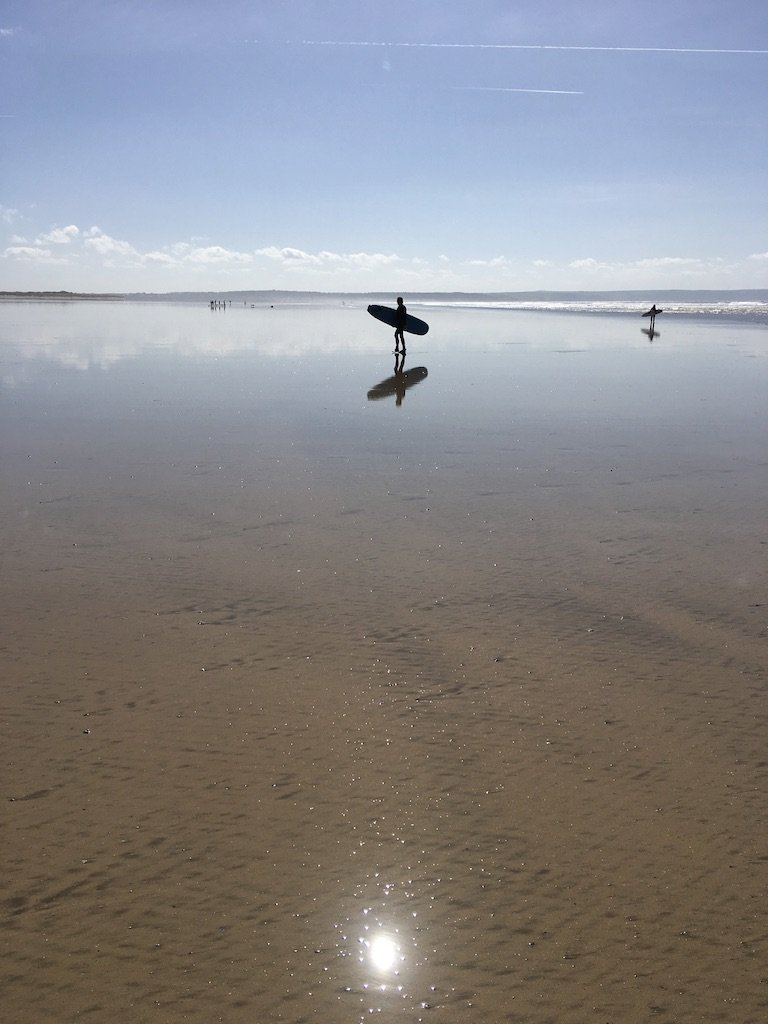 silouettes of surfers at saunton sands